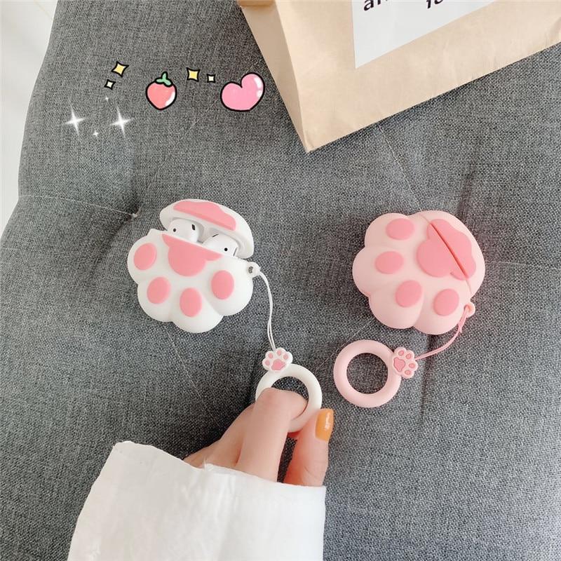 Чехол для AirPods Pro, милый мультяшный розовый кот, лапа, коготь, кольцо на палец, чехол для наушников Apple Airpods 2, чехол, мягкий силиконовый чехол чехол