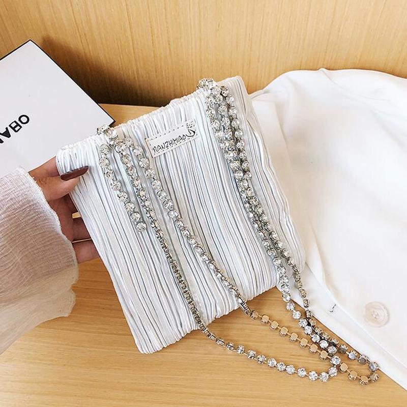 Bolso de hombro de cristal para mujer, bolsa de mano azul, de...