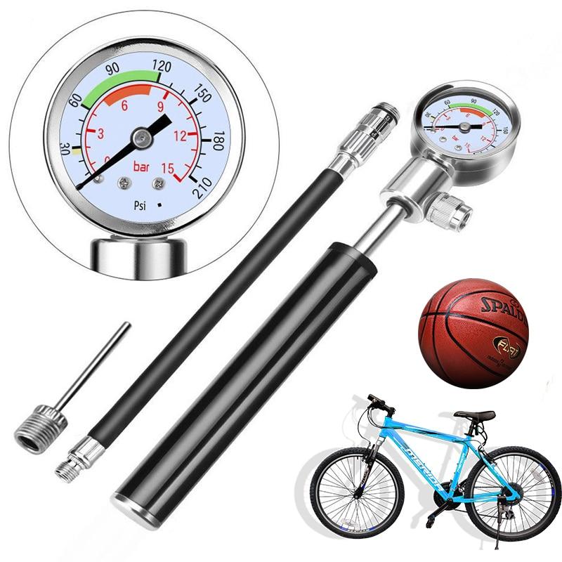 Mini 20cm Bicycle Football Basketball Pump Mountainbike Pomp Met Gauge Suitable For Basketball Cycling Handpomp Fietsen Road