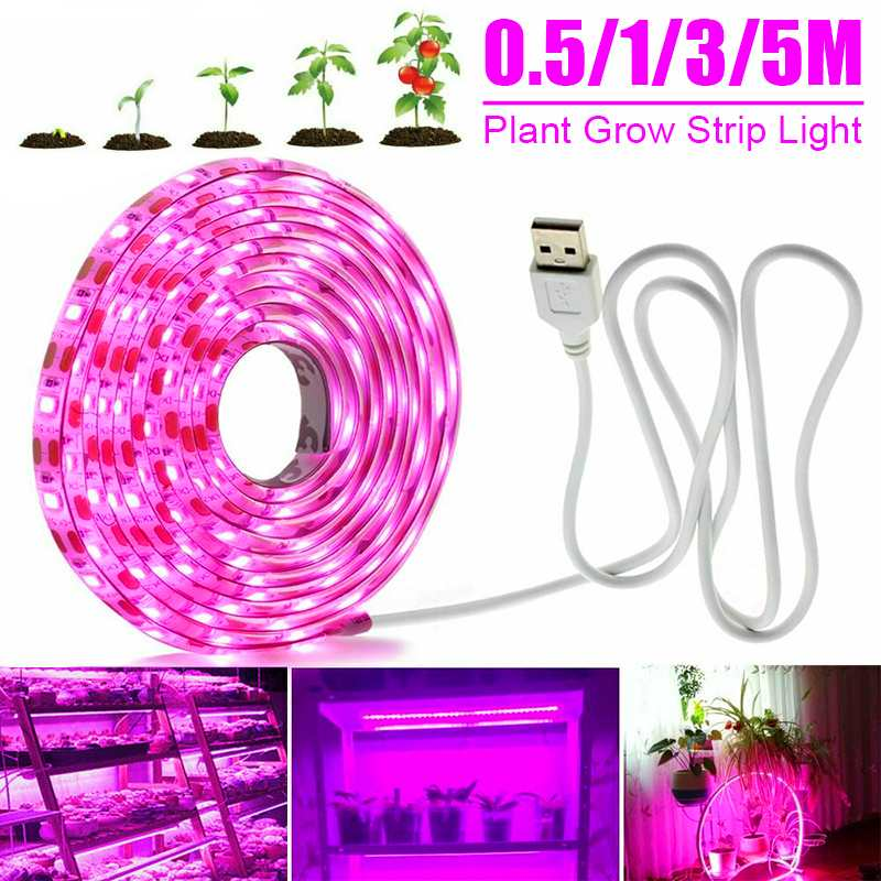 Luz LED de cultivo de espectro completo, tira de luz de cultivo USB 0,5/1/3/5M 2835 DC5V lámparas LED de Fito para invernaderos de plantas y flores, hidropónico