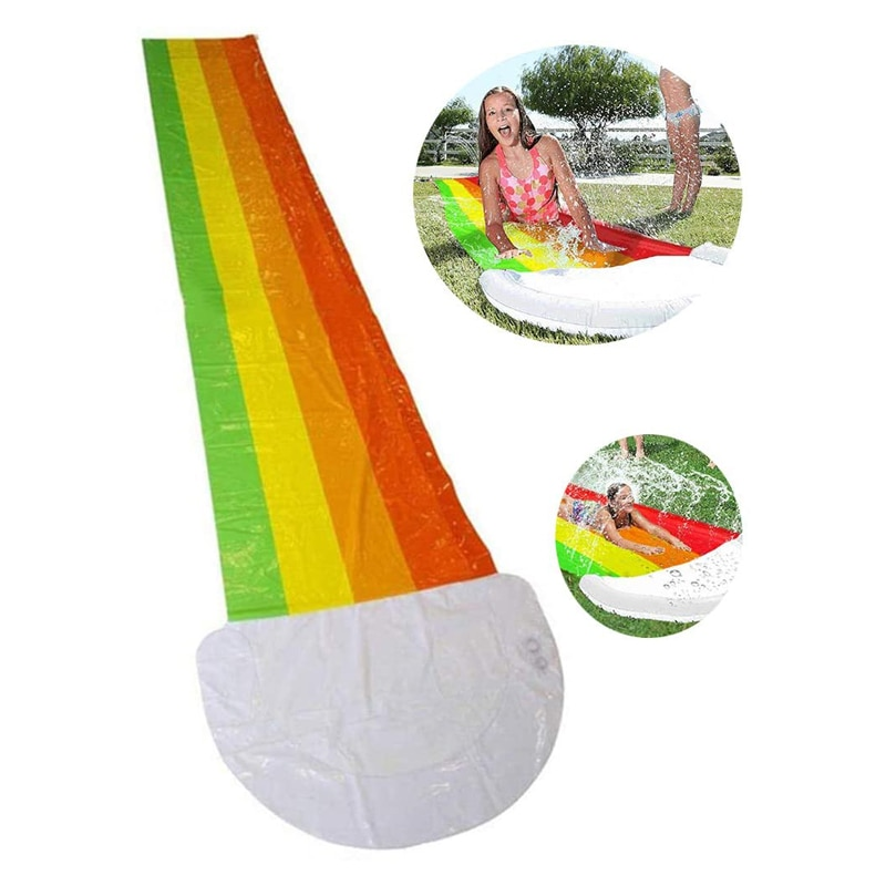 Lawn Water Slides PVC Rainbow Cloud Waterslide with Inflatable Crash Pad for Children Summer Pool Kids Games Fun Toys