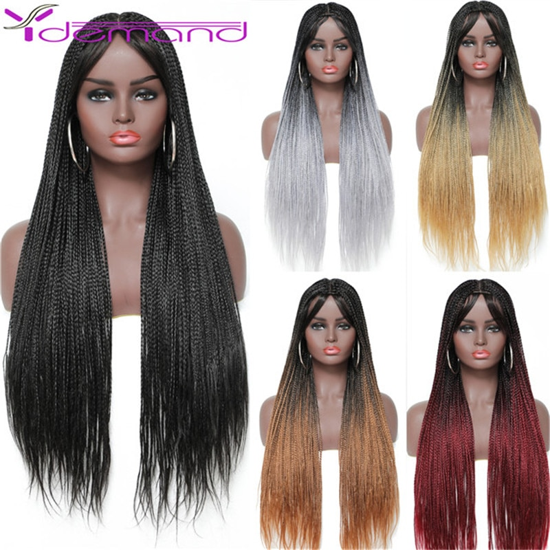 28 Inch Long Box Braid Wig Braids With Baby Hairs African synthetic Braided Wigs For Women & Girls High Quality