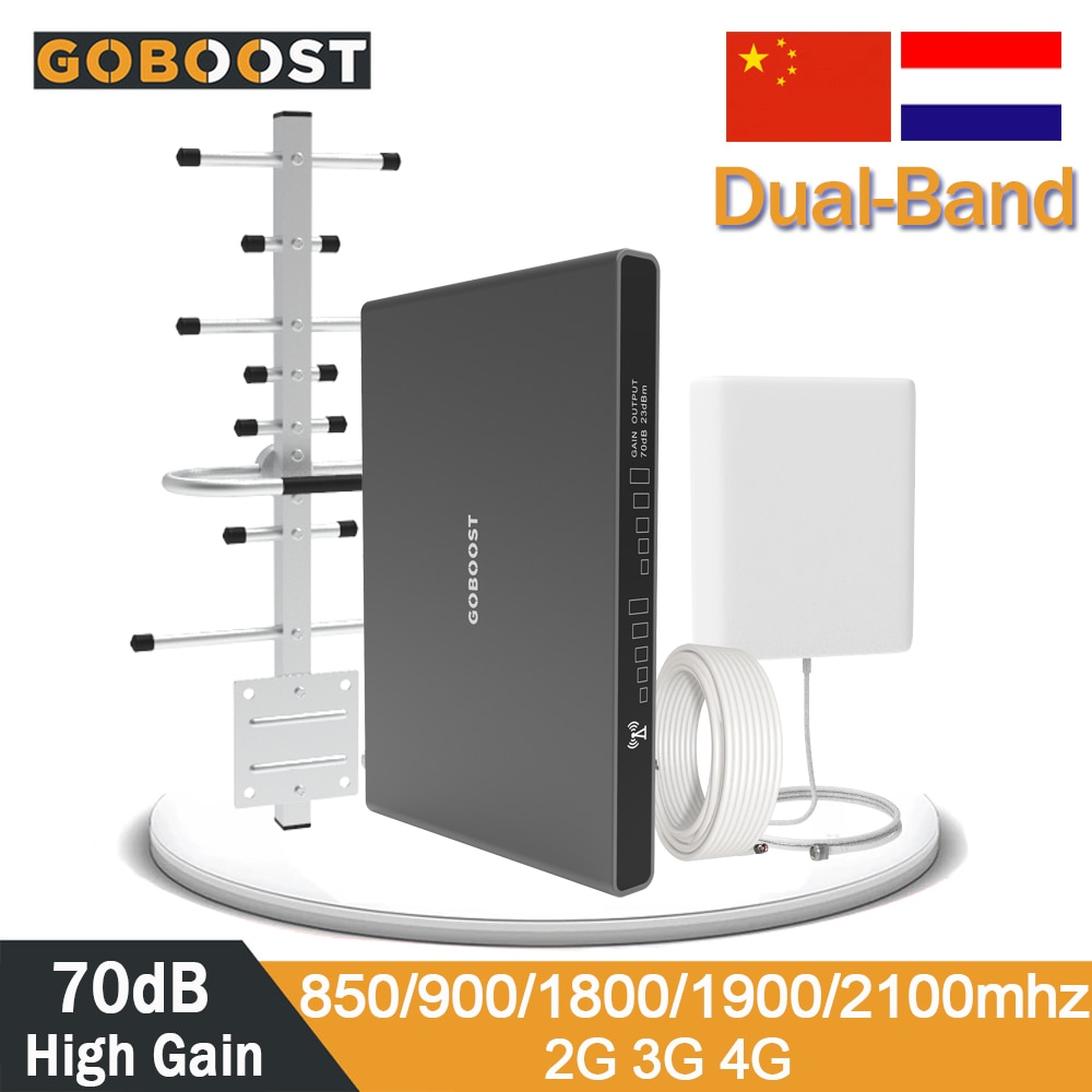 Mobile Amplifier Dual-Band Repeater 2G 3G 4G Signal Amplifier DCS1800 GSM Cellular Signal Booster 3G LTE WCDMA2100 800mhz Band28