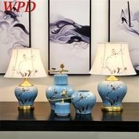 wpd ceramic table lamps blue luxury bird brass fabric desk light home decorative for living room dining room bedroom