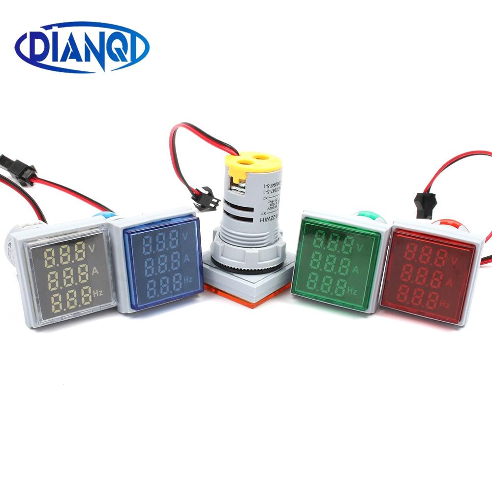 Tensão mínima do diodo emissor de luz de 10 pces + corrente + medidor de frequência ac 60-500 v 100a 20-75 hz colorido indicat digital 3in1