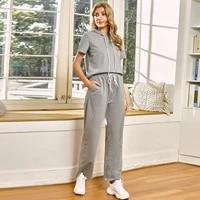 modern gray two piece tracksuits short sleeve hoodies feminino wide leg sweatpants mujer loose waist hooded sweatshirt for women