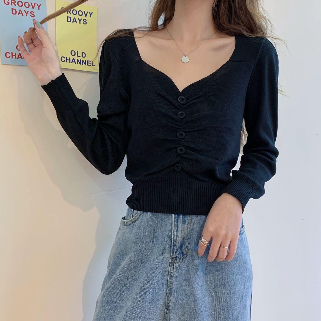 Womens Top Black Sweater Thin vintage Slim All Match Sueters De Mujer Korean Fashion Long Sleeve V-Neck Basic Roupas Femininas