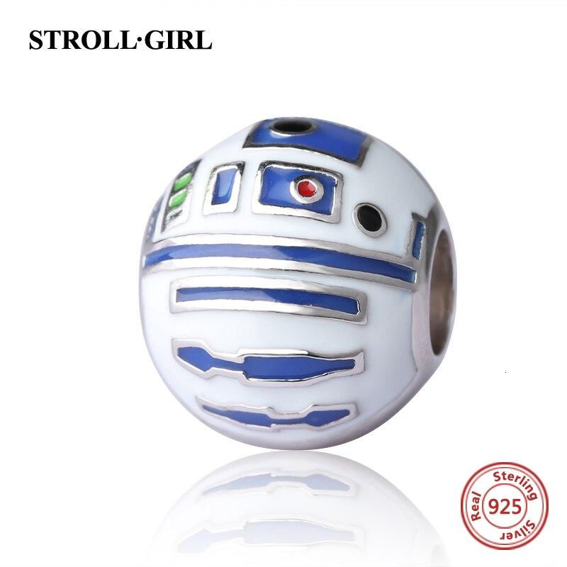 StrollGirl 925 cuentas de plata encantos de robots con esmalte de color fit pandora auténtica pulsera joyería de diy que hace regalos de los hombres