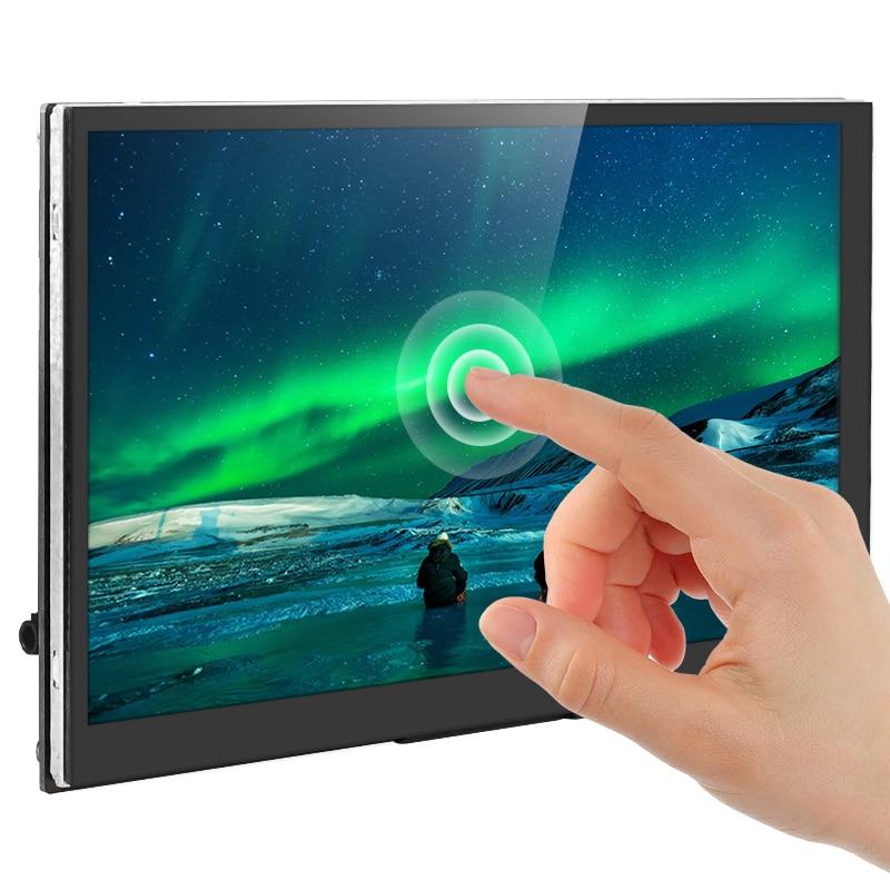 شاشة راسبيري Pi 4 موديل B 7 بوصة IPS LCD 1024x600 شاشة لمس الخلفية قابلة للتعديل + قوس لتوت العليق Pi 4B/3B +/3B/PC