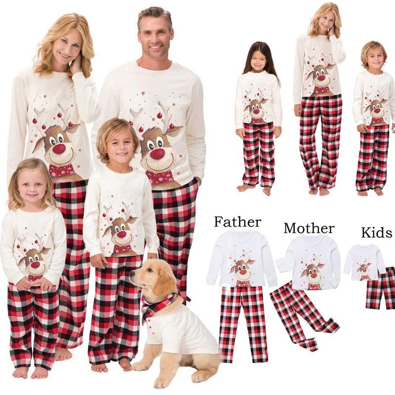 2020 Christmas Family Matching Pajamas Set Deer  Kid Family Matching Clothes Top+Pants Xmas Sleepwear Pj's Set Baby Romper