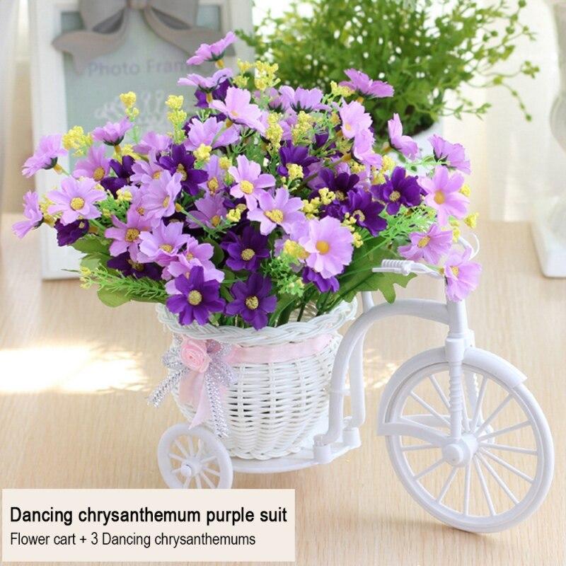 Carro de tejido de mimbre de plástico Rosa Artificial, cesta de flores, cesta de flores de ratán, cesta de flores, triciclo, almacenamiento de florero de bicicleta, decoración del hogar