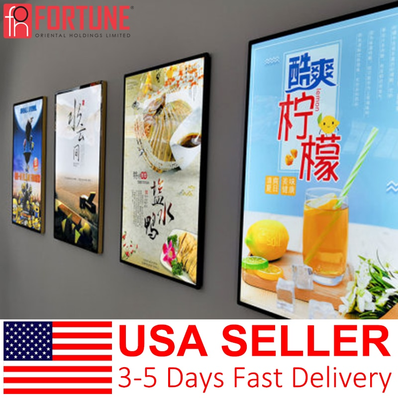 اضواء لوحات الاعلانات من ليد للمطاعم قائمة الأسعار إطار عرض Led الفيلم الملصقات الإطار LED مضيئة علامات معلقة صندوق إضاءة