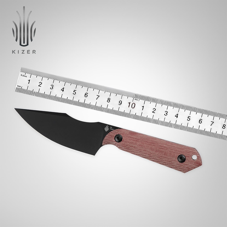 Эксклюзивный нож Kizer Mojave с фиксированным лезвием 1040E1, охотничий нож с гарпуном и красной ручкой из Микарта, D2, прочный стальной черный тактич... нож buck hood punk микарта