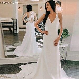 White Ivory V-neck Beach Wedding Dress Mermaid Style Crisscross Back Chapel Train Vestido De Novia Boho Bridal Dresses 2021