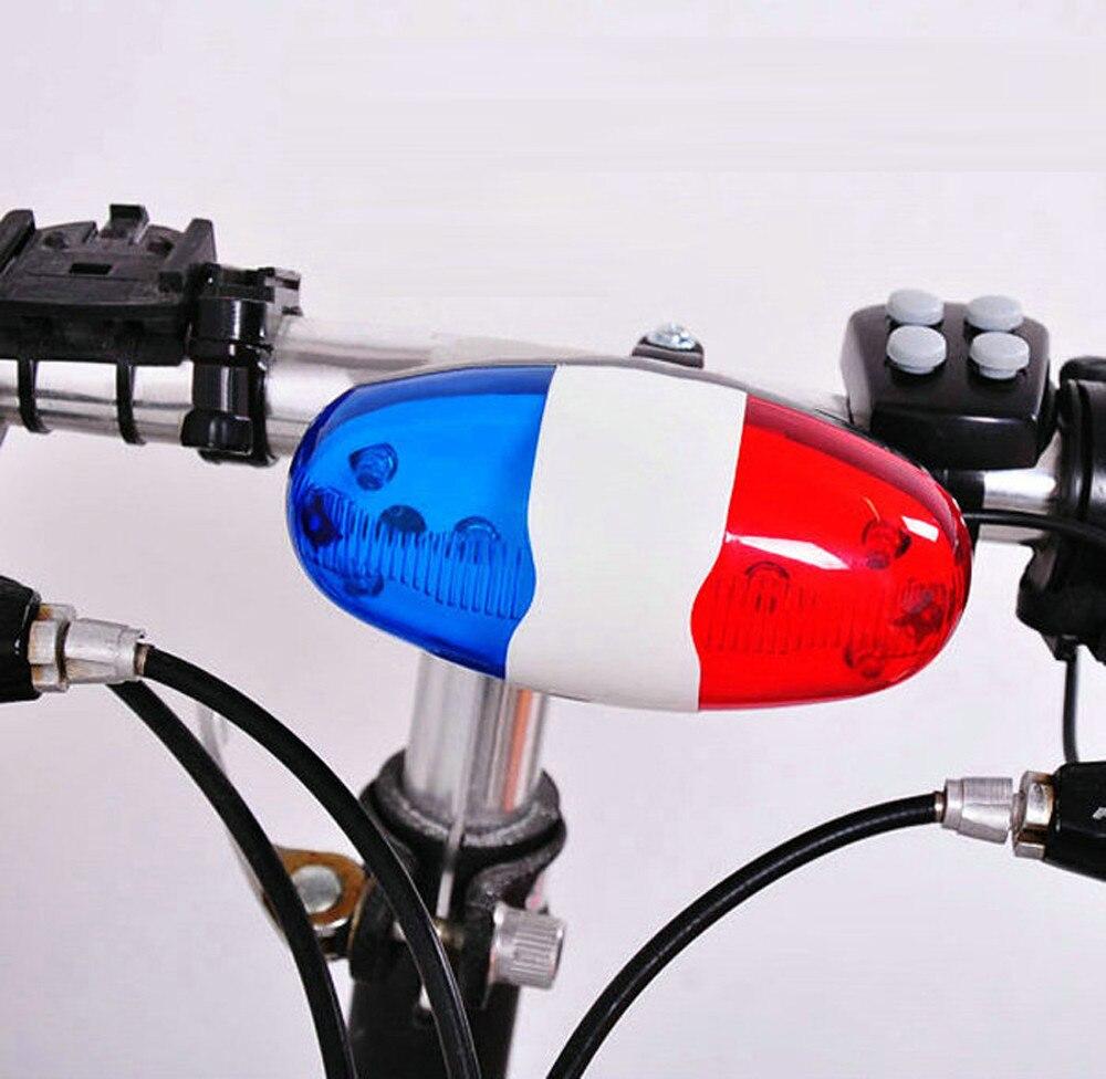 Bicicleta 6 LED intermitente 4 sonidos sirena de policía trompeta cuerno campana bicicleta luz trasera para luz trasera impermeable MTB bicicleta de carretera #30