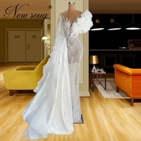 white illusion party dress for weddings 2021 beading mermaid pageant dress women robes dubai arabic evening gowns prom dresses
