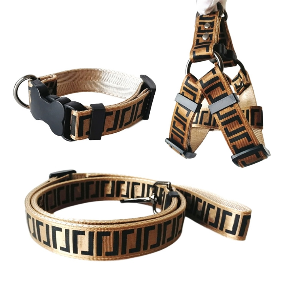 Letter Printed Dog Collar Leash Set Luxury Designer Car Safety Belt Leashes For Small Dogs Pet Colla