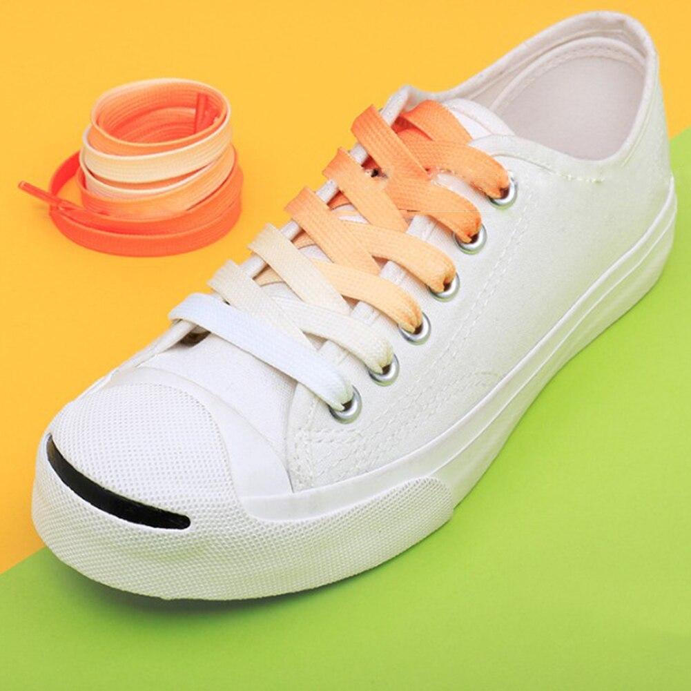 Nouveau lacet dégradé Sport chaussures lacets arc-en-ciel coloré plat toile lacets unisexe bottes chaussure dentelle lacets baskets