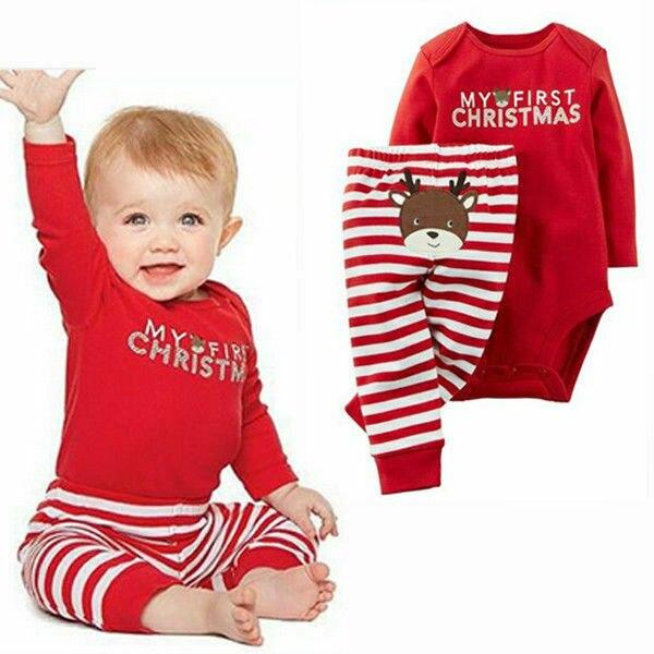 Комплекты детской одежды на Рождество для новорожденных, для маленьких мальчиков и девочек, комбинезон и штаны; комплект одежды, комплект о...