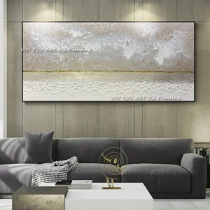 The White 100% Handmade Golden Modern Abstract Thick Oil Painting On Canvas Knife Painting Wall Art Living Room Decor No Framed
