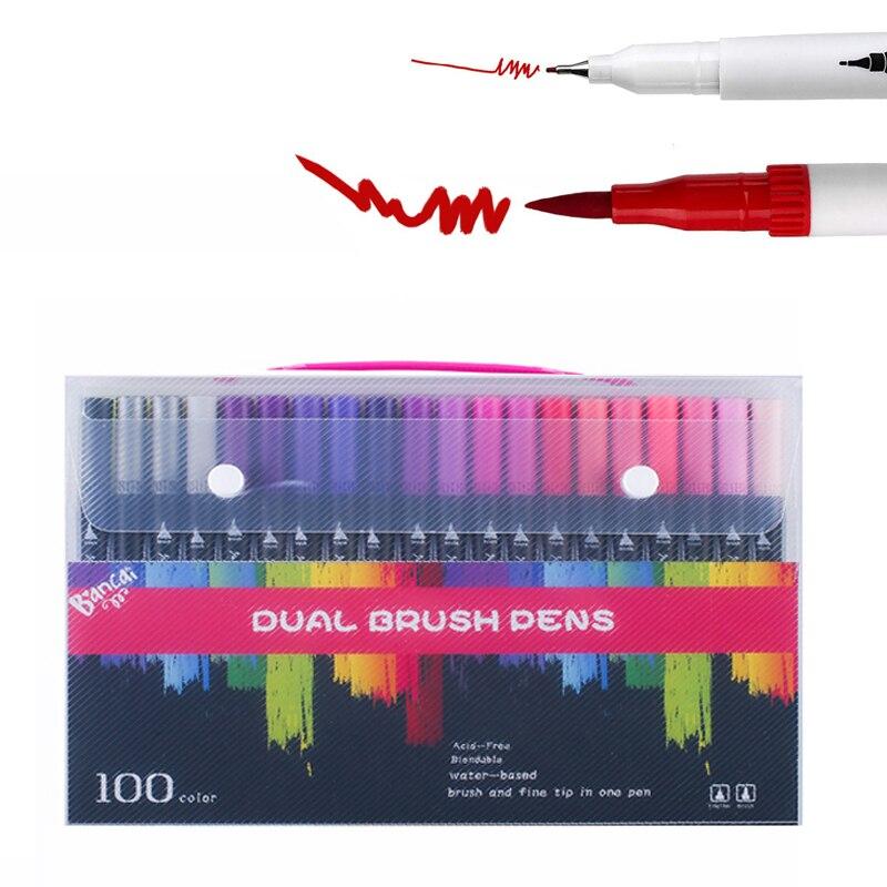 12/24/36/48/72/100 Color Aqua-marcador Rotulador con dos puntas dibujo colores profesional marcadores escolares Accesorios