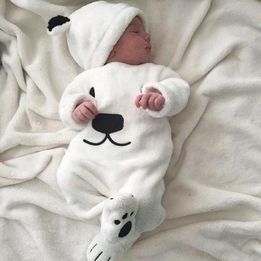 2019 bebé de dibujos animados de felpa mameluco niño niña de manga larga de dibujos animados de oso de lana mono + traje de sombrero детский комбинезон 4 *