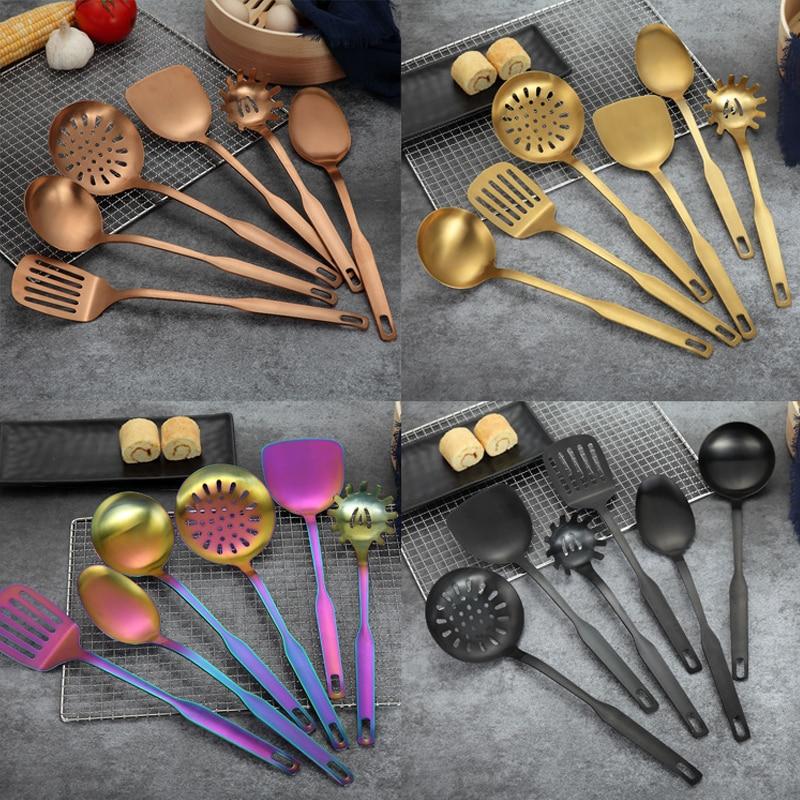 6 قطعة/المجموعة أدوات مطبخ الفولاذ المقاوم للصدأ الذهب قوس قزح مقبض طويل ملعقة شوربة تيرنر ملعقة تجهيزات المطابخ أدوات الطبخ