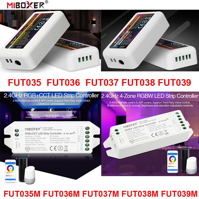 AliExpress - FUT035 FUT036 FUT037 FUT038 FUT039 Miboxer (NEW) 2.4G 4-Zone LED Controller Dimmer Single Color CCT RGB RGBW RGB+CCT Strip