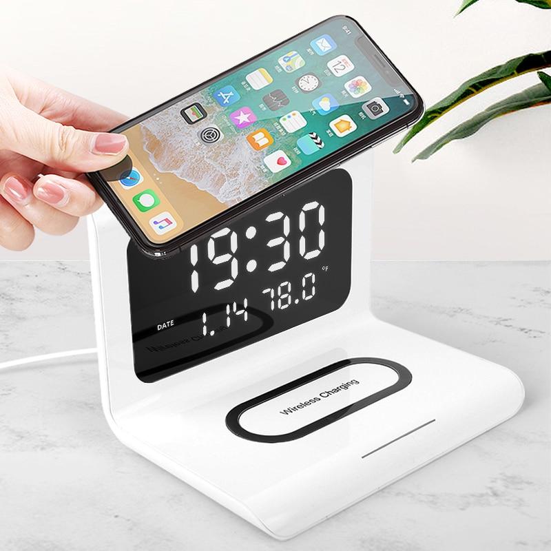 Reloj creativo multifuncional con tres en uno, reloj despertador de carga inalámbrica para móvil, cargador de teléfono xiaomi Huawei Samsung