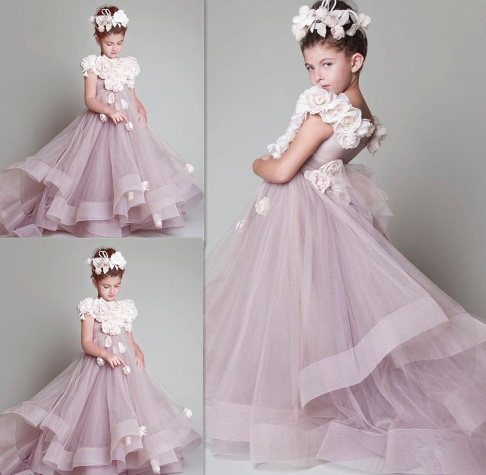 3 D Flower Applique Flower Girls Dresses Ruched Tiered  Puffy Girl Dresses for Wedding Party Gowns Plus Size Pageant Dresses