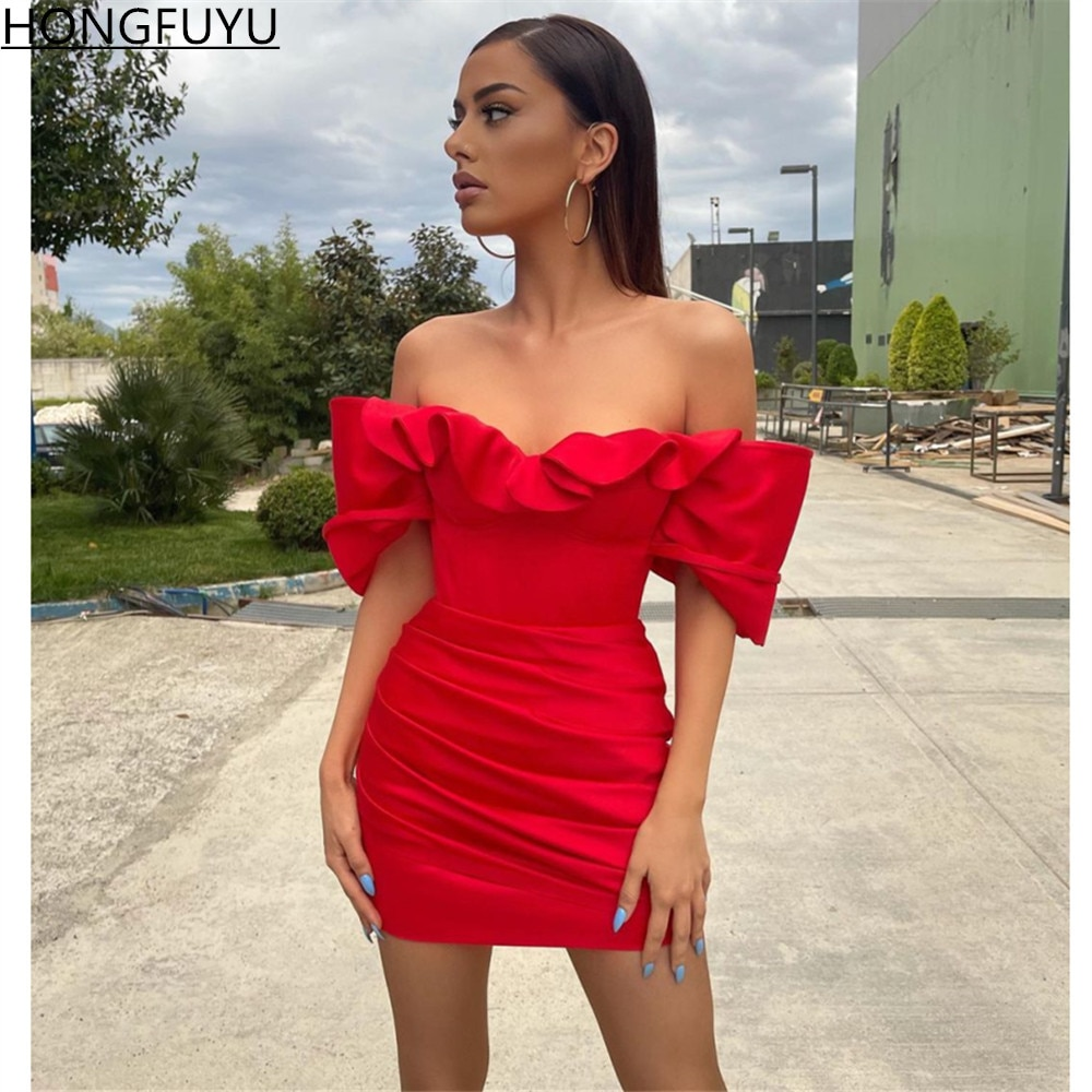 HONGFUYU Red Off Shoulder robes de cocktail Dresses Short Pleated Satin Evening Gowns elegant prom dress women for wedding party