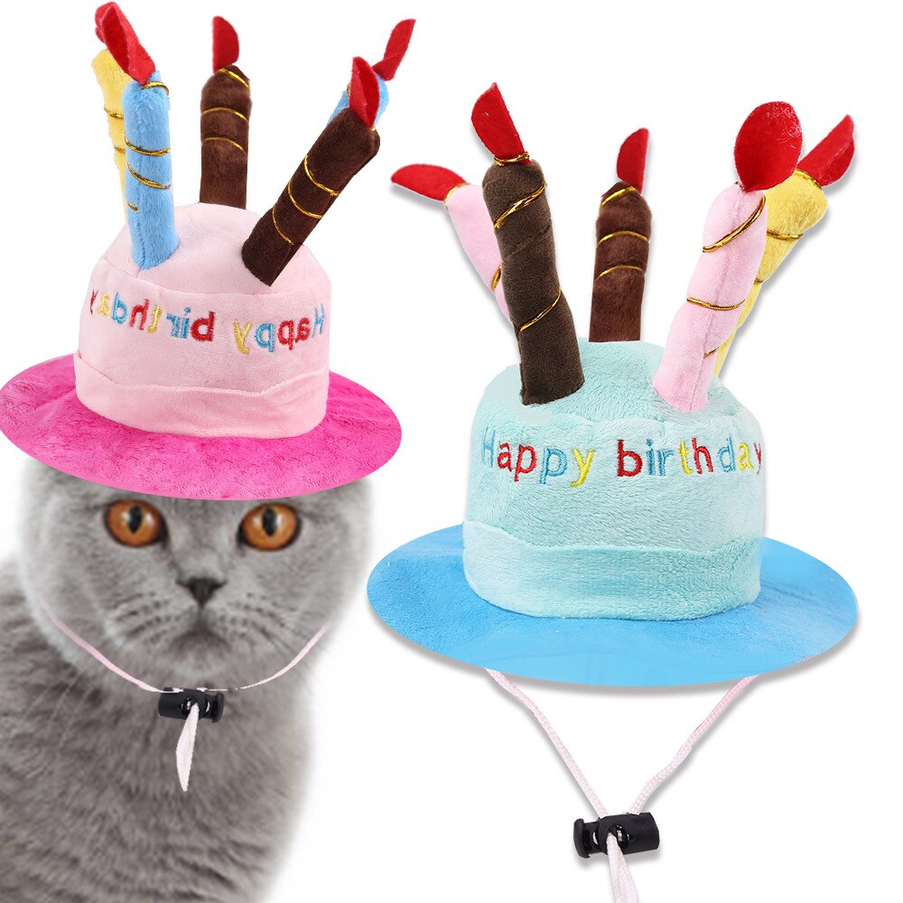 Sombrero perro mascota gato tarta de cumpleaños para mascota vela regalo patrón sombrero con traje de fiesta accesorios tocado gato gorros para perros suministros