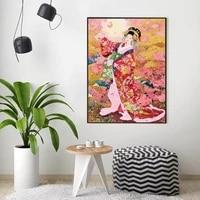 Affiches de peinture en toile de decoration de noel  tableau dart mural de la Geisha japonaise pour decoration de salon  decoration de maison