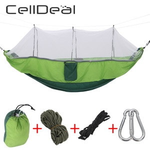 Garden Outdoor Camping Hammock with Mosquito Net Portable 1-2 Person Hanging Bed Strength Parachute Fabric Enjoy Sleep Swing