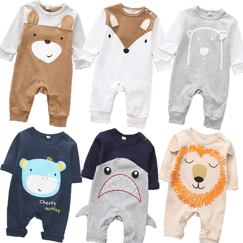 2020 Cute animals Spring Baby romper newborn baby clothes Kids long sleeve underwear cotton boys Clo