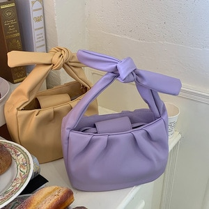 2020 Summer New Style Soft Leather Pleated Tote Bag Lady Shoulder Messenger Crossbody Bag Cloud Bow Handle Women Handbag