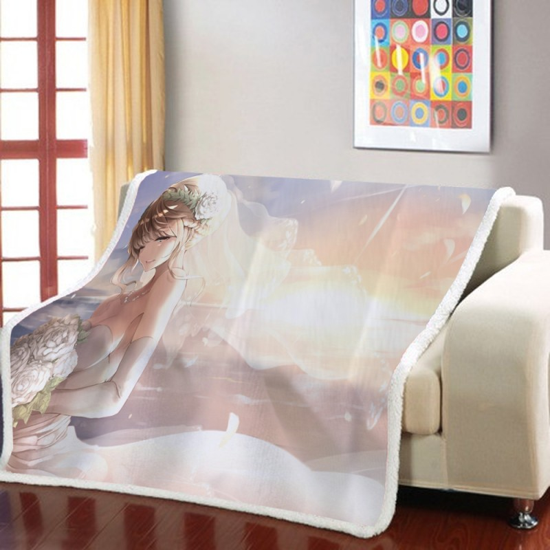 Filles rêveuses robe de mariée 3D couverture polaire dessin animé Art imprimer enfants chaud lit jeter couverture voyage canapé literie 150x200cm