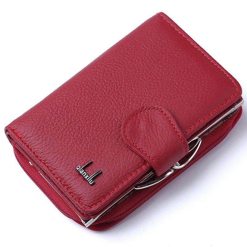 Qian xi lu carteiras femininas cortex zíper e ferrolho bolsas (vermelho) 12.5x8.5x4cm