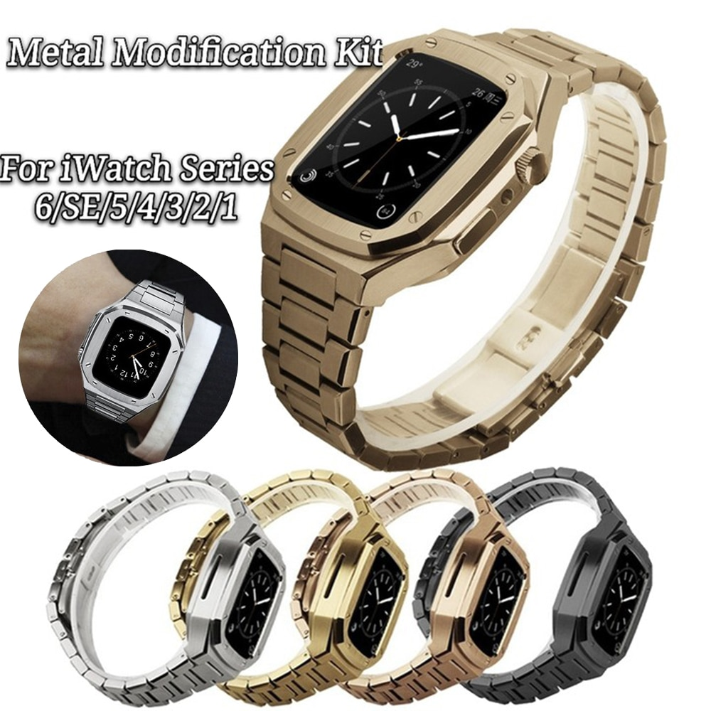 Stainless Steel Band Set Modification for Apple Watch Band 40mm 44mm 42mm 38mm Metal Watch Case for IWatch Series6 SE 5 4 3 2 1