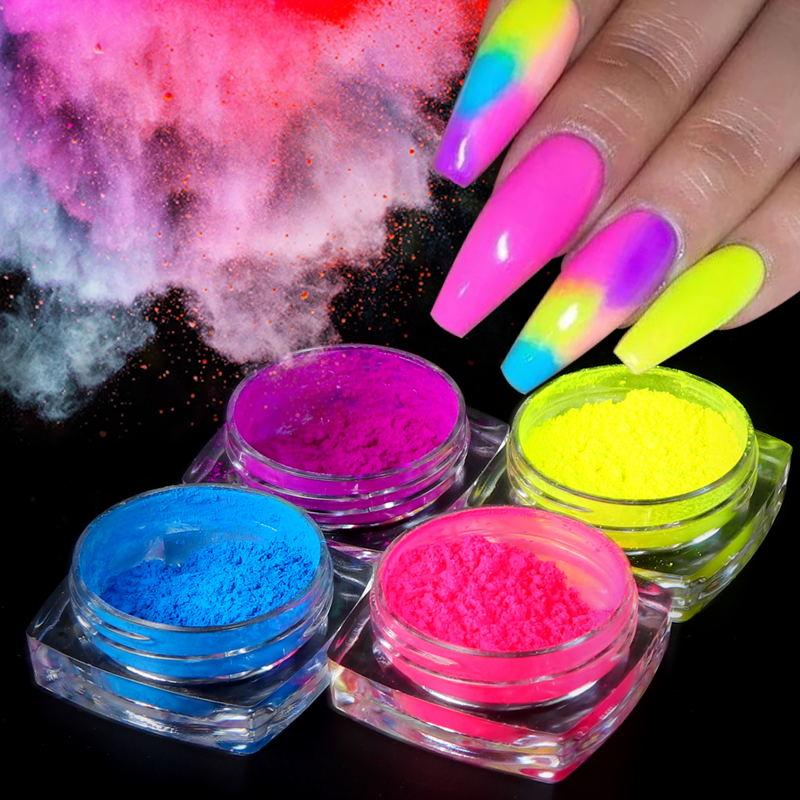 AliExpress - 9 Boxes/set Neon Pigment Powder Nail Fluorescence Gradient Glitter Summer Shinny Dust Ombre DIY Nail Art Decoration Manicure