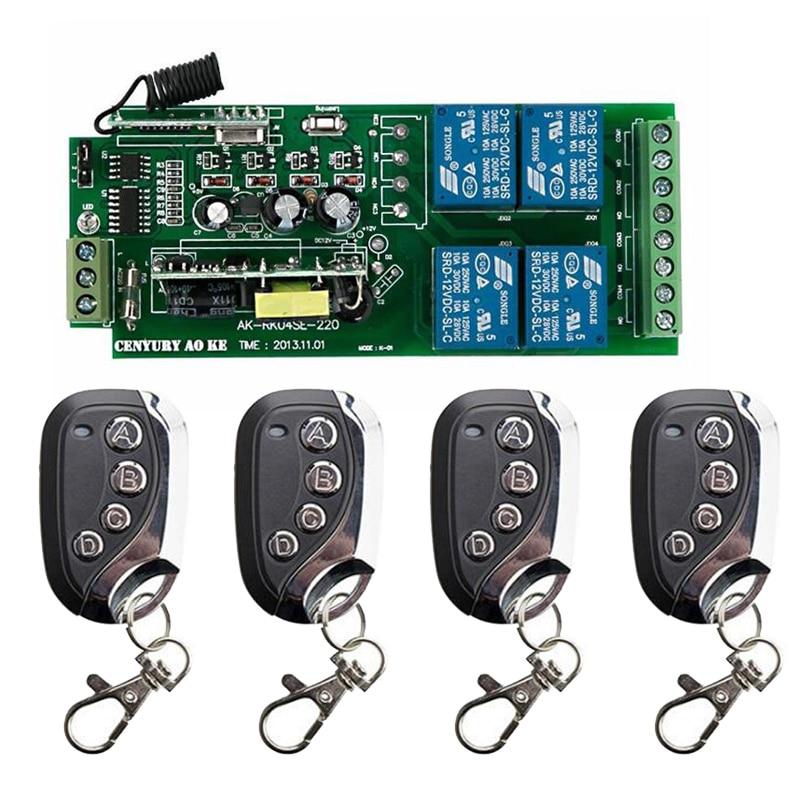 433 Mhz AC85V-250V 10A 4CH 4 CH interruptor de luz LED con Control remoto inalámbrico relé salida Radio TRANSMISOR DE RF receptor persianas/lam