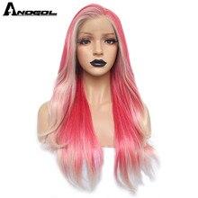 Anogol platynowy blond Ombre różowy syntetyczna koronka peruka Front długie naturalne fale Futura włókna peruka dla kobiet