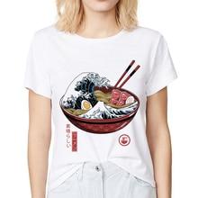 Japan Vintage style great Ramen Wave off Kanagawa funny t shirt Big stomach king casual women Harajuku noodles tshirt streetwear