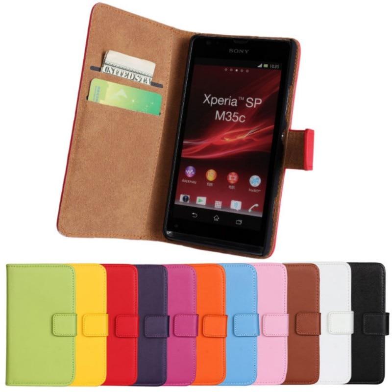 OEEKOI Genuine Leather Wallet Flip Cover Case for Sony Xperia L S36h/V LT25i/M C1905/SP M35h with Card Slot Holder