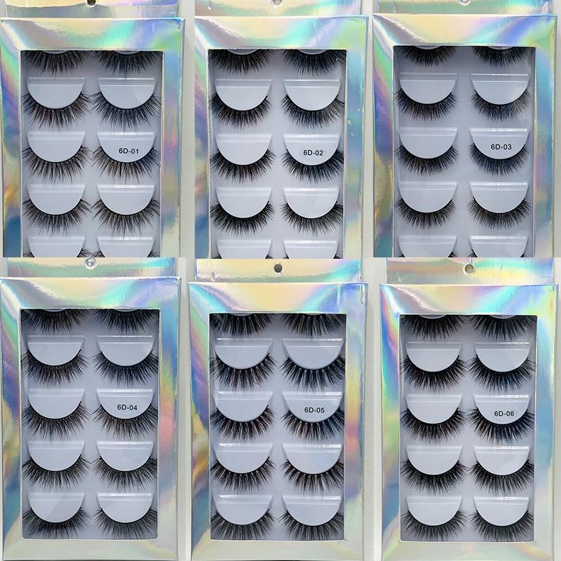 ISEEN 5 pares de pestañas postizas de pelo de visón suave 3D finas tupidas pestañas gruesas hechas a mano Natural maquillaje de ojos herramientas de extensión pestañas