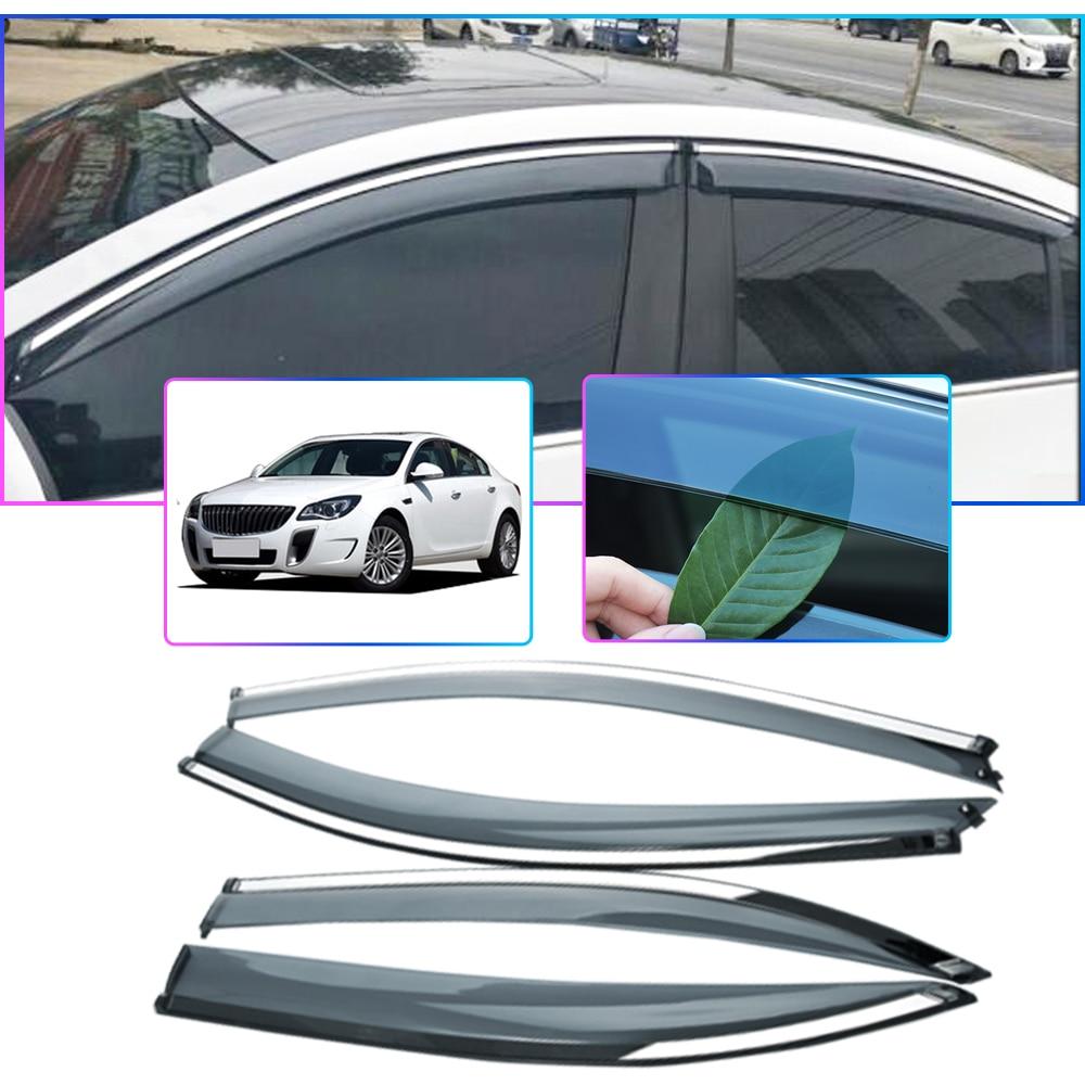 4pcs ABS Car Styling Smoke Window Sun Rain Visor Deflector Guard For Buick Regal 2009 2010 2011 2012-2016 2017 2018 Accessories