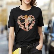 ZSIIBO Heart Wreath Cupid Angels Summer Women's Fashion Large Size Loose Harajuku Casual Fun T-Shirt Cartoon Letter Print tops