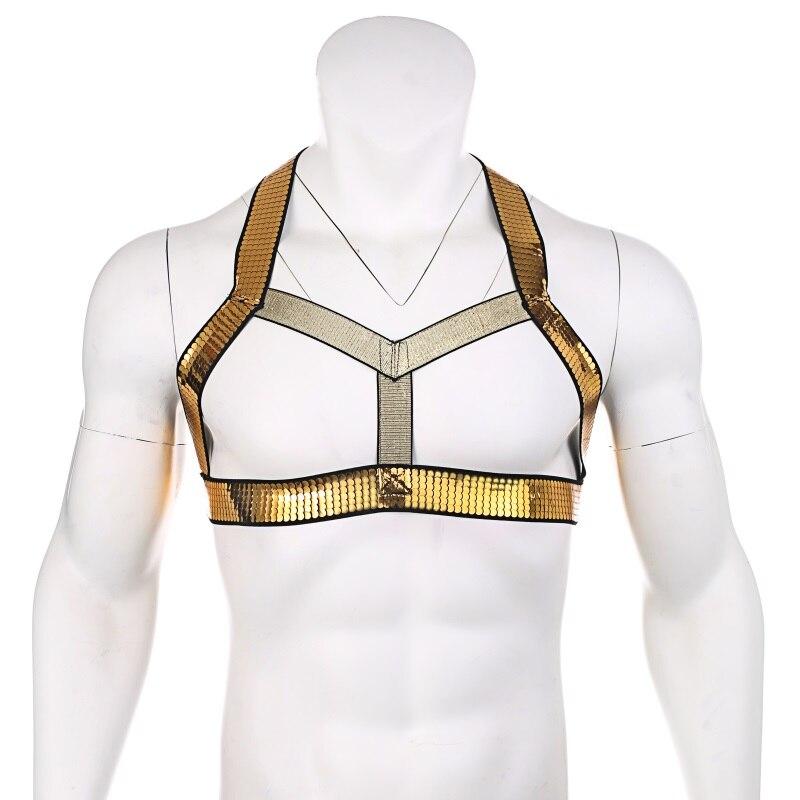 Homens dourado brilhante elástico corpo peito lingerie arnês cinta masculina zentai novo estilo clubwear halter sexy bondage