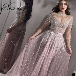 Pink Dubai Beaded Evening Gowns For Weddings Customize 2020 Sequins Prom Dress African Robe De Soiree AibyeParty Dresses Kaftans