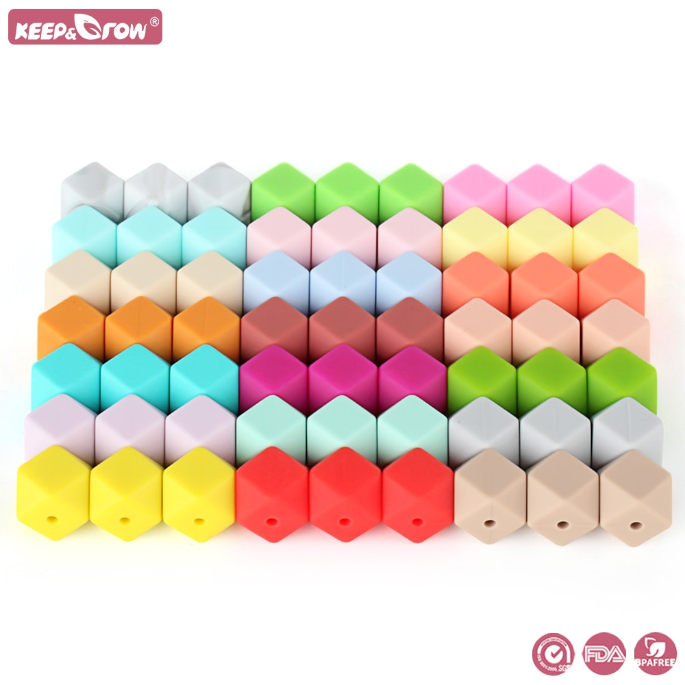 100pcs 14mm Hexagon Silicone Beads BPA Free Baby Teether DIY Necklace Pacifier Chain Accessories Baby Teething Toy Care Infant